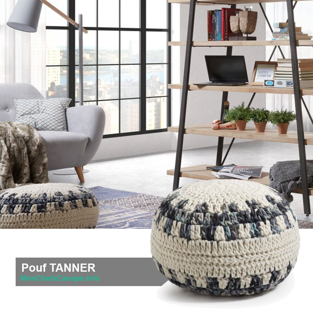 Pouf rond en maille TANNER