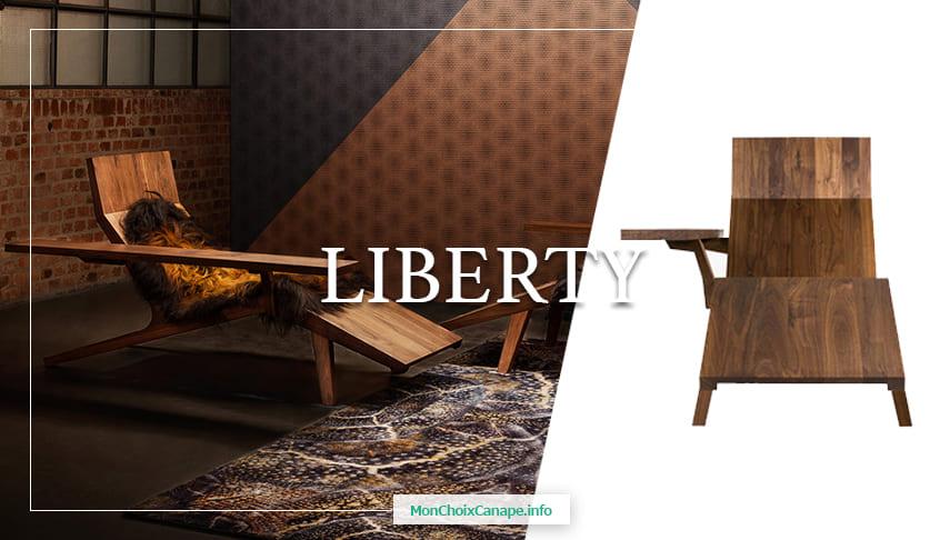 Chaise longue en noyer massif Liberty