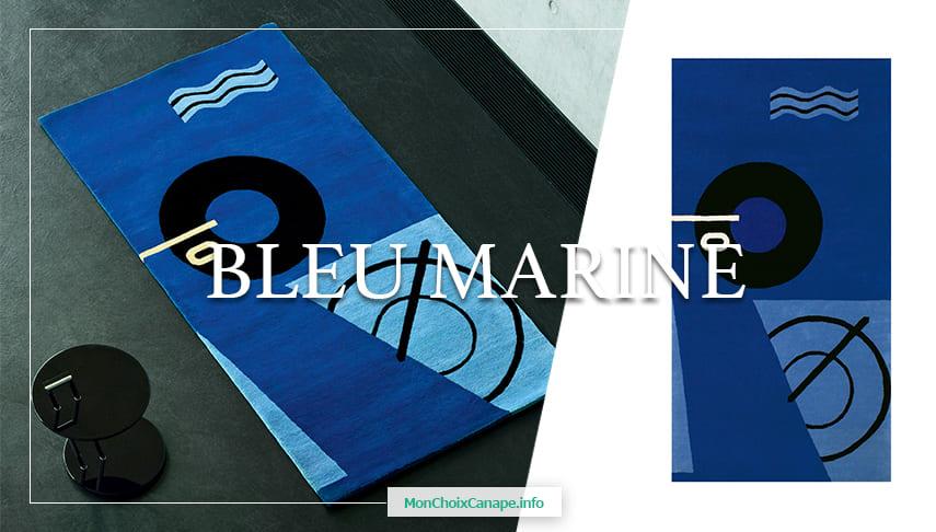 Tapis géométrique et abstrait Bleu Marine